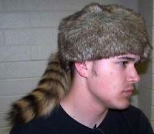 ADULT REAL RACCOON TAIL HAT fur caps animal daniel boone rendevous pelt costume