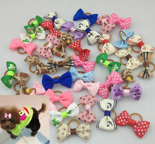 10 pcs Rubber Band Pet Hair bows Bow Trailing barrette for Dog Cat Groomin cute