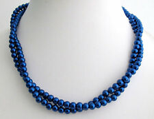 Dark Blue Pearl Necklace Navy Blue Bridesmaid Jewelry,Christmas gift jewelry