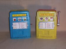 Vintage Yellow and Blue Red Plastic Slot Machine Jack Pot Piggy Coin Bank Lot 2