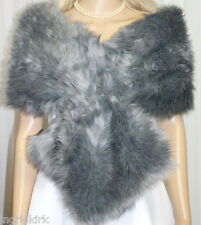 GORGEOUS SILVER / GREY  FAUX FUR WRAP STOLE SHAWL BOLERO BRIDAL WEDDING NWT !!