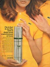 Publicité Advertising 1969  Parfum EAU DE SPORT LACOSTE de JEAN PATOU