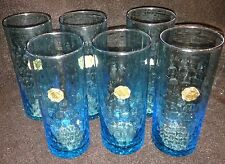 Vintage Murano Venetian blue Art Glass Murano Set 6 shot glass with labels