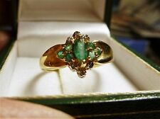 10K YELLOW GOLD GENUINE EMERALD DIAMOND RING SIZE 9 VERY PRETTY, UNUSUAL 10 KT