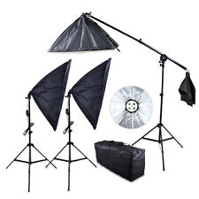Photo Studio Softbox 4 Socket E27 Lamp Head Continuous Video Lighting Stand Kit