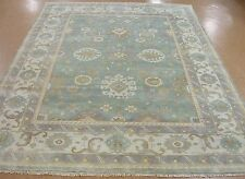 9 x 12 OUSHAK Hand Knotted Tribal TORQUOISE IVORY PURPLE Wool New Rug Carpet