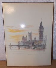 MADS STAGE - PRINT ON BOARD - WESTMINSTER BRIDGE & HOUSES OF PARLIAMENT - USED