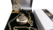 SIGNED BUDDY HOLLY Pocket Watch Music Note Keyring Luxury Gift Set 24k Gold Clad