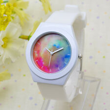 New Ladies Womens Jelly Silicone Quartz Waterproof Wrist Watches Colorful Galaxy