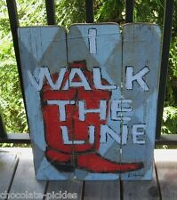 RED COWBOY/Cowgirl BOOT PICTURE Wall Sign*Primitive Urban Farmhouse Horse Decor