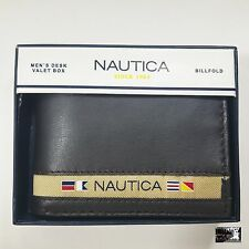 NAUTICA Brown Leather Billfold WALLET With FREE VALET BOX ! Notes Cards New