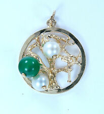 Vintage 4+ grams 14k Yellow Gold Pearl and Green Jade Stone Tree Charm Pendant