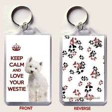 KEEP CALM and LOVE YOUR WESTIE with West Highland Terrier Image KEY RING Gift