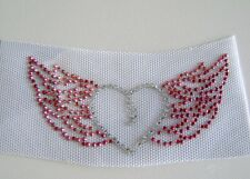VALENTINE / HEART with  WINGS RHINESTONE  IRON ON APPLIQUE / HOT FIX TRANSFER