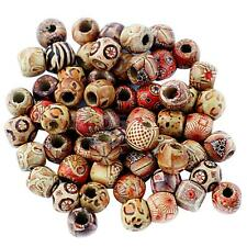 100pcs 12mm Mixed Round Wooden Beads for Jewelry Making Loose Spacer Charms