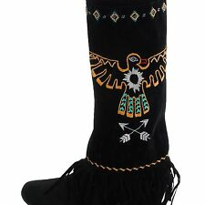 Boot Covers Thunder Bird Fringe Faux Suede Embroidered Beaded Sun Arrows Western