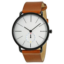 Skagen Hagen White Dial Brown Leather Mens Watch SKW6216