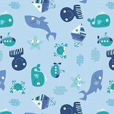 Fabric Seawater Baby Friends Having Fun Tossed on Blue Cotton By The 1/4 yd BIN