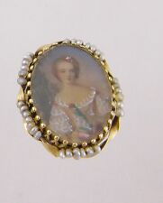 CHARMING  ANTIQUE  14 KT GOLD SEED PEARLS  MINIATURE PORTRAIT WOMAN   EARRINGS