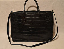 Furla Black Crocodile Alligator Embossed Leather Tote Shopper Shoulder Bag Purse