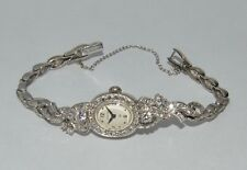 Antique 1920s  3ct VS1 G TCW Diamond Hamilton 14k White Gold Ladies Watch