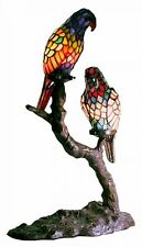 Stained Glass Exotic Birds Accent Table Lamp Tiffany Style Ambiance Lighting New