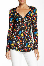 LOVE Moschino Printed Long Sleeve Surplice Blouse IT 42,US 6 NWT $301
