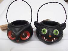 Set 2 NWT OWL & BLACK CAT Treat Bucket HALLOWEEN Ornament Party Favor