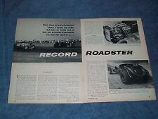 """Bantam Altered Roadster Vintage 1960 Drag Car Article """"Record Roadster"""""""