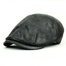 UK SELLER - Mens Flat Caps Baker boy Gatsby Hats Wax Faux Leather Black