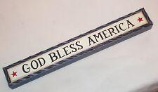Primitive Carved look shelf sitter sign GOD BLESS AMERICA Patriotic home decor