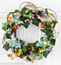 """Fiber Optic Spring Floral Butterfly Ivy Vine Multi-Color Wall Door Wreath 16"""""""