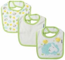 Gerber Unisex-Baby Newborn 3 Pack Terry Dribbler Bib Farm Animals, Green