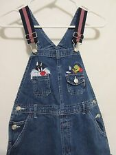 NEW! Womens Looney Tunes Tweety 14/16 Blue Jeans Embroidered Bib Overalls XL