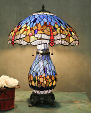 "Table Lamp Tiffany Style Blue Stained Glass Shade Red Dragonfly Lit Base 25"" H"