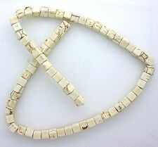 6mm Square Cube Magnesite Buffalo Turquoise Bead Strand 15 Inch Strand MB162