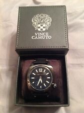 VINCE CAMUTO MEN'S WATCH GENUINE NEW Cushion Style BLACK Subdial $195 Value