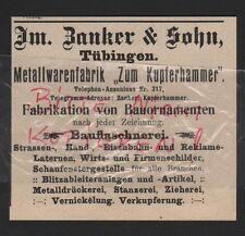 TÜBINGEN, Werbung 1912, Im. Zanker & Sohn Metallwaren-Fabrik Zum Kupferhammer