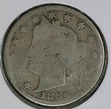 Rare Date 1886 Liberty Nickel!!  Fair to About Good Condition - Album Filler