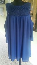 Free 2 Luv Womens Plus Crochet Lace Navy Cut Out Shoulder Baby Doll Dress 3X