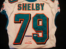 #79 DERRICK SHELBY MIAMI DOLPHINS SIGNED GAME USED WHITE JERSEY PSA/DNA Y60438