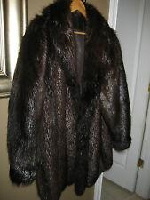 NATURAL LONG HAIR BEAVER COAT dark brown fur size XXL