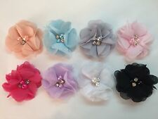 """Wholesale 8 Pcs 2"""" Fabric Flowers No Clips Baby Girl Hair Bow Supplies."""