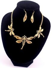 Hot Gold Beautiful Dragonfly Wing Earrings Necklace Statement Choker Jewelry Set