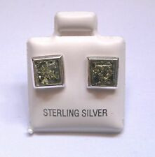 Sterling Silver Square Green Amber with Stud Earrings