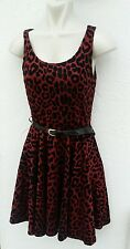 Krisp Ladies Size 10 Black Red Animal Print Prom Dress Belt Party Ball Wear Girl