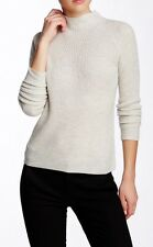 $345 NWT VINCE RIBBED CASHMERE MOCK NECK 100% CASHMERE SWEATER HEATHER GRAY SZ M