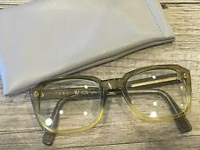 VINTAGE MENS OVERSIZED SQUARE BROWN PLASTIC EYEGLASSES GEEK GLASSES 2.25 +