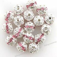 20pcs Pink Rhinestones Round Spacer Beads 8mm Fit Jewellery Necklace Bracelets D