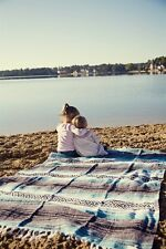 #11 Soft Blue Mexican Falsa Blanket El Paso Bed Throw Beach Picnic Yoga Roll NWT